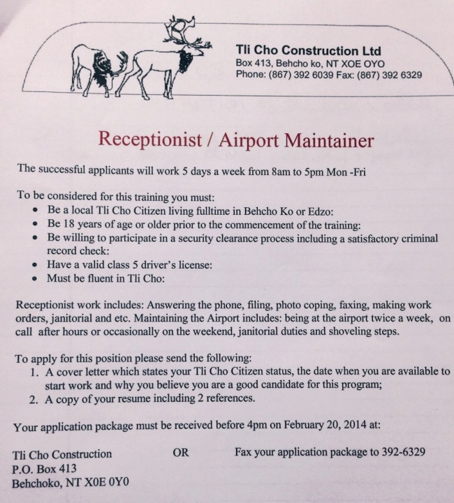 Employment Opportunity   Receptionist / Airport Maintainer (Edzo Airport)  Application Deadline