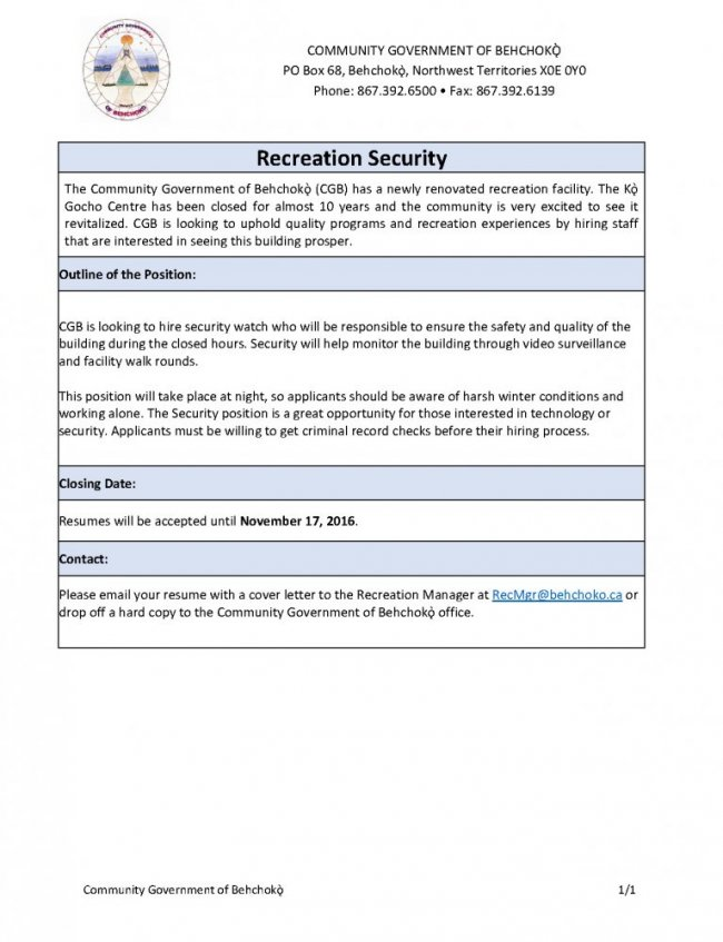 please email your resume with a cover letter to the recreation manager