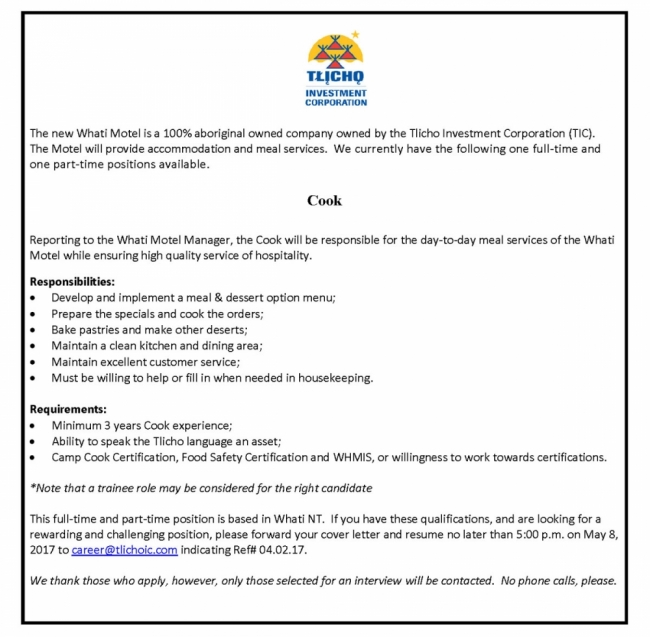 Employment Opportunity - Cook | Tlicho