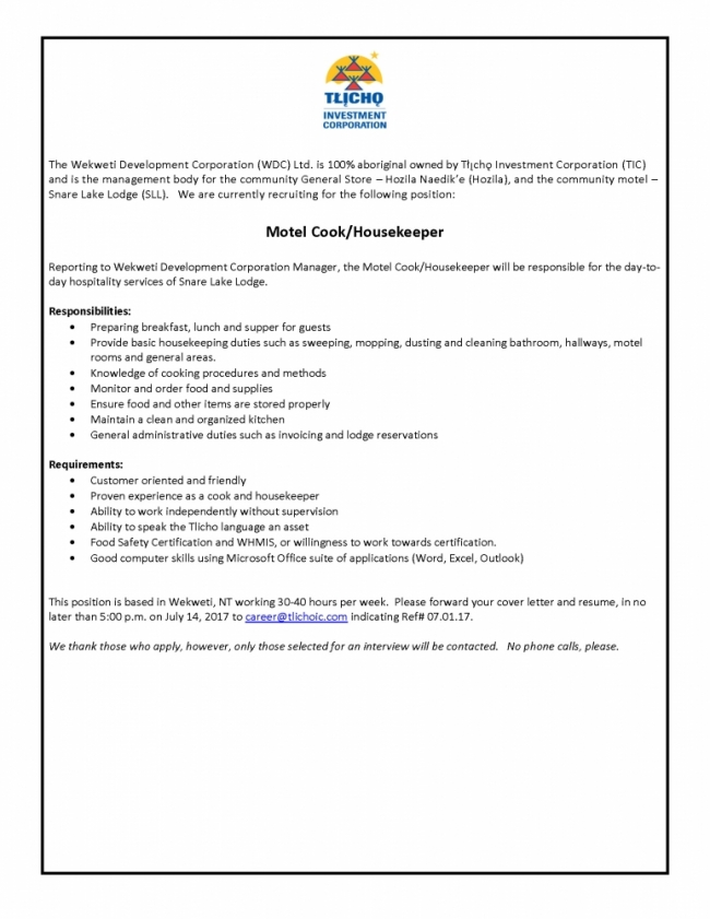 Employment Opportunity - Motel Cook/Housekeeper | Tlicho