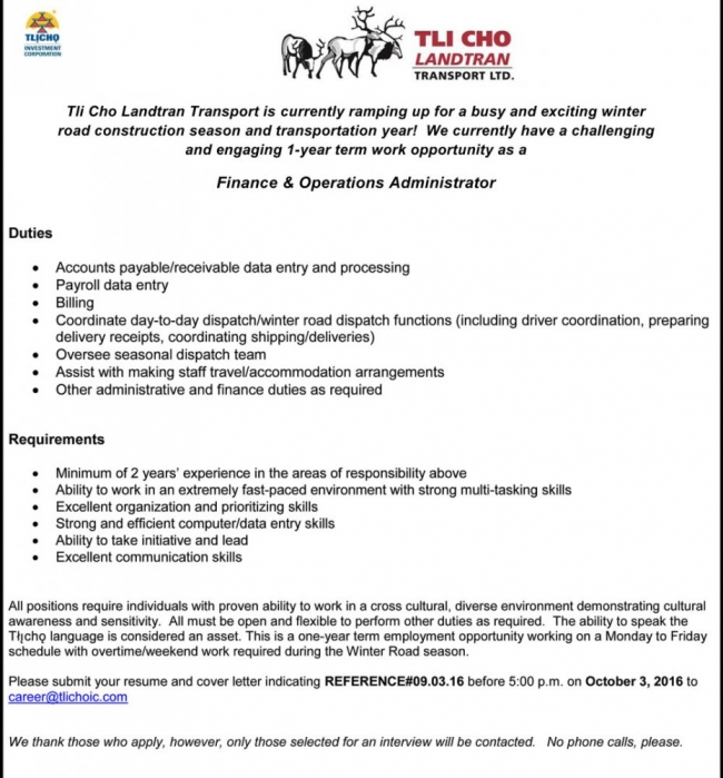 Employment Opportunity - Finance & Operations Administrator | Tlicho