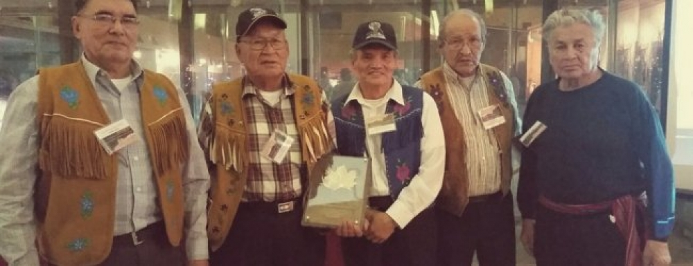 Tłįchǫ Elders pictured above (from left to right) Charlie Apples, Louis Franki, Michel Louis Rabesca, Moise Rabesca, and NSMA Elder, Ed Jones.