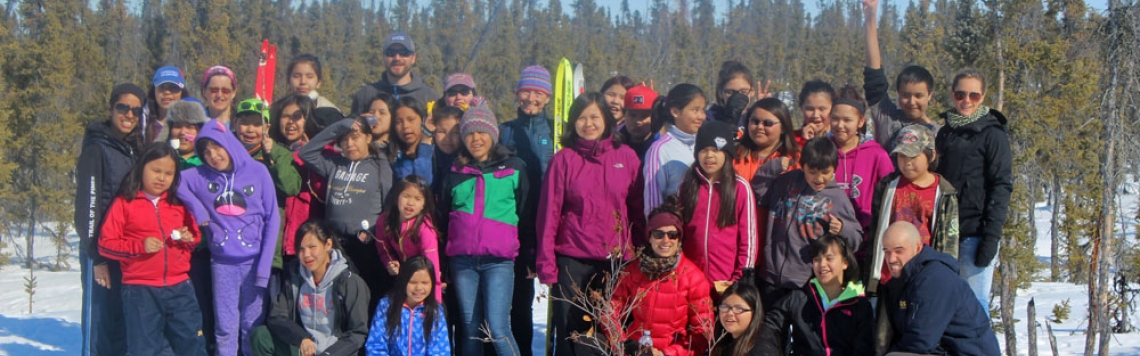 Participants of the 2nd annual Tlicho region ski loppet, hosted by Jean Wetrade Gameti School